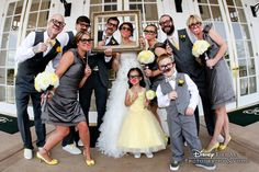 Goofy shots with your bridal party are a must for your wedding album #Disney #yellow