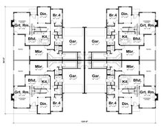 First Floor Plan of Traditional   Multi-Family Plan 66404