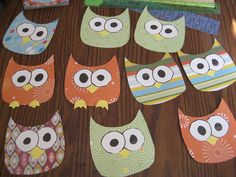 Scrap paper owls - thought about making a bulletin board with a tree on it.  Owls could be compliments students get.