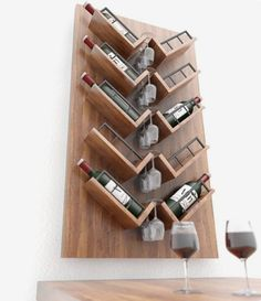 On weekend nights, sofa wine and movies form our comfortable life. But at the same time, you should find a comfortable home for your wine. The wine rack is Wine Rack Wall, Wood Wine Racks, Wine Glass Rack, Furniture Projects, Wood Projects, Diy Furniture, Wine Shelves, Wine Storage, Wine Bottle Storage Ideas