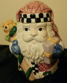 1991 VINTAGE FITZ FLOYD MAMA MOMMA MOTHER  BEAR COOKIE JAR RETIRED HAT BEE-CHIP