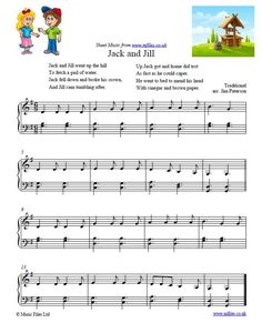 Jack and Jill - nursery rhyme, could even be altered to use with up to 2nd or low level 3rd grade with proper revision.