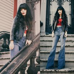 Get this look: http://lb.nu/look/7068620  More looks by Rachel-Marie Iwanyszyn: http://lb.nu/jaglever  Items in this look:  Bell Bottoms, Crop Top, Crescent Moon Necklace   #retro #street #vintage