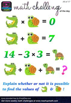 17 Fun and Printable Math Puzzles for Elementary and Middle School Students A Post By: Anthony Persico Math Games, Math Activities, Math Challenge, Printable Math Worksheets, Math Questions, Daily Math, Math About Me, Maths Puzzles, Maths Algebra