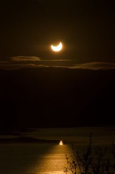 Tranquility by the engagement of the solar eclipse at midnight.  Some meditate, some pray and some are just taken away by such intense beauty.  That is I. Tromsø, Norway