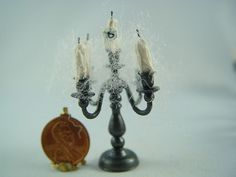Dollhouse Miniature Halloween Haunted 5 Candle Candelabra, Gothic Witch, Vampire
