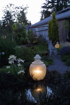Evening reflection... garden lantern from a reclaimed streetlight.