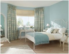 Blue bedroom curtains ideas design bedroom white and blue curtain idea home decor decorating ideas for . Duck Egg Blue Bedroom, Leirvik Bed, Country Bedroom Design, Design Bedroom, Side Bed, Up House, Blue Rooms, Blue Walls, Minimalist Bedroom