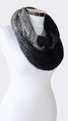 Gradient Black to Gray knitted infinity scarf women by AGORAA