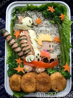 calvin-and-hobbes-bento-box. i remember these guys from my childhood :) one of the best comic strips I've ever read. this bento is just too cute.