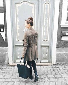 paulina sophie with MAZE leather fringe jacket