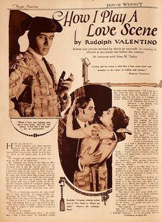 As mentioned in last weekend's update, Rudolph Valentino edited an issue of Movie Weekly (kinda sorta). Here are some highlights. * * * * * * * * * * * * Rudymania on the march. Lots of gushi…