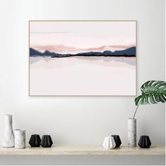 Horizon printable wall art in blush pink and navy blue | Etsy Blue And Pink Bedroom, Pink Bedroom Walls, Pink Bedroom Decor, Bedroom Ideas, Master Bedroom, Pink Wall Art, Wall Art Sets, Minimalist Poster, Printable Wall Art