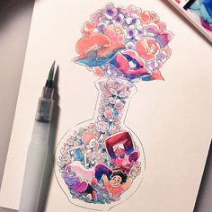 cousaten: Crystal Gems in a bottle with plants!
