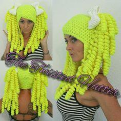 Crochet Neon pigtail hat Crochet Wig Pattern, Crochet Cap, Crochet Mittens, Crochet Beanie, Cute Crochet, Crochet For Kids, Easy Crochet, Crochet Wigs, Yarn Wig
