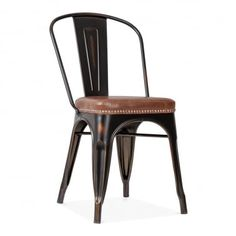 Xavier Pauchard Tolix Style Metal Side Chair with Cushion Colour Option - Distressed Copper