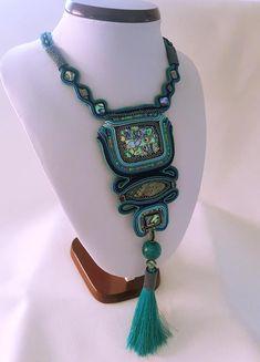 Soutache Necklace Turqoise Peyote beads Handmade Abalone stone