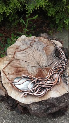 Ice and fire  Weird copper wire wrapped necklace with natural