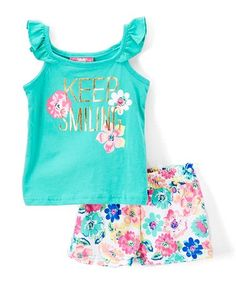 Mint Angel-Sleeve Top & Floral Shorts - Infant & Toddler #zulily #zulilyfinds