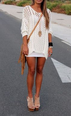 Loose white summer sweater with white short skirt and brown fringe leather hand bag and pink & brown stylish ladies sandals the best summer ...
