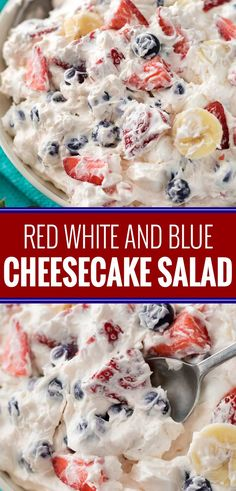 This simple 5 ingredient cheesecake salad is loaded with fresh berries, bananas, and a creamy no bake cheesecake filling! This simple 5 ingredient cheesecake salad is loaded with fresh berries, bananas, and a creamy no bake cheesecake filling! Köstliche Desserts, Best Dessert Recipes, Fruit Recipes, Summer Recipes, Holiday Recipes, Delicious Desserts, Cooking Recipes, Yummy Food, Salad Recipes
