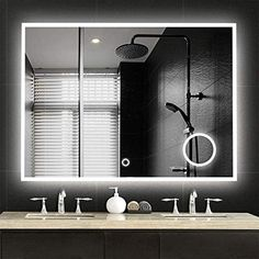 NeuType Large LED Mirrors Wall Mounted Bathroom Mirrors Dimmable Lighting Mirror with Built-in Circular Magnifier 3 Times Magnification for Cosmetic Vanity Makeup or Shaving,Touch Button 36 Led Mirror Bathroom, Bathroom Styling, Mirror Wall Bathroom, Mirror With Lights, Mirror Wall, Bathroom Mirror Lights, Mirror, Large Bathrooms, Bathroom