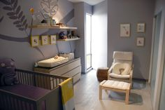 brown-black crib and ikea malm as changing station. http://www.apartmenttherapy.com/my-room-tess-houston-tx-115470