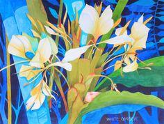 New Art Original Watercolor Painting Hawaiian White Ginger 2 by K Novak Neal Abstract Flowers, Watercolor Flowers, Watercolor Paintings, Art Floral, Silk Painting, Painting Art, Realism Artists, Hawaiian Art, Plant Art