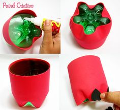 I found this step step of this beautiful Christmas souvenir on the Creative Panel website. Made with EVA and pet bottle. Necessary materials: pet bottle Diy Home Crafts, Crafts To Sell, Crafts For Kids, Diy Plastic Bottle, Pet Bottle, Frozen Birthday Party, Bottles And Jars, Beautiful Christmas, Kids Playing