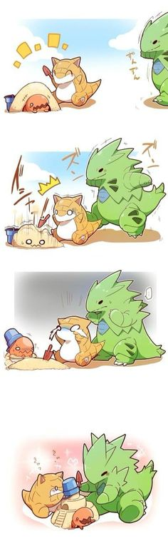 Tyranitar, trapinch, sandshrew build sand castle