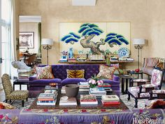 """Purple sofas might not be everyone's choice,"" Niven says, ""but I wanted a big statement at the core of our big, busy living room."