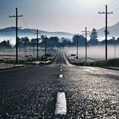 Foggy Empty Road #iPad #Wallpaper HD