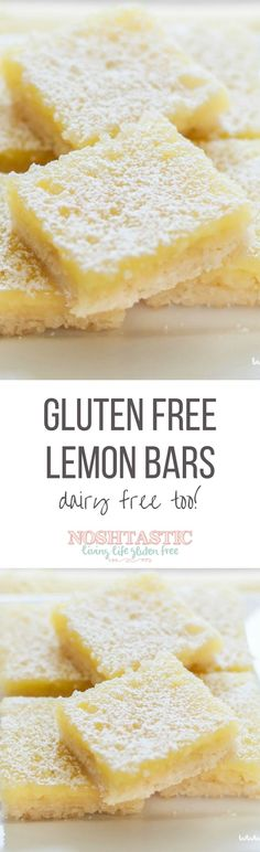 Rate Couldn't even tell they were made with gluten free flour, as well as dairy free butter! A delicious Dairy Free and Gluten Free lemon bars recipe with the best shortbread base. They're the tastiest gluten free dessert bars you'll ever try! Cookies Sans Gluten, Dessert Sans Gluten, Paleo Dessert, Dessert Bars, Diabetic Desserts, Lemon Desserts, Frozen Desserts, Sweet Desserts, Gluten Free Deserts