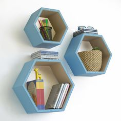 Plain Blue & White Hexagon Leather Wall Shelf / by onitiva on Etsy, $89.89
