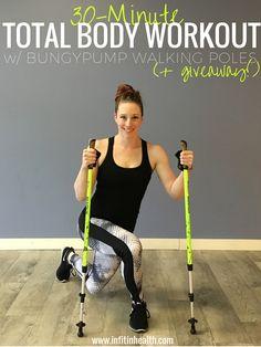 30-Minute Total Body Workout w/ BungyPump Walking Poles