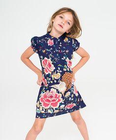 Look at this #zulilyfind! Blue & Pink Peacock Button-Up Dress - Toddler & Girls by Yo Baby #zulilyfinds