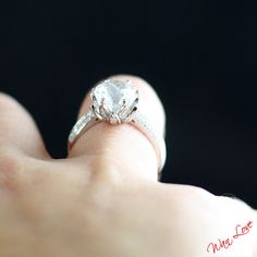 White Sapphire & Diamond Lotus Flower Engagement by WanLoveDesigns