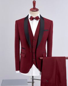 Slim Fit Wedding Suits For Men Shawl Collar 3 Pieces Burgundy Suit Mens Royal Blue Tuxedo Jacket Blue Tuxedo Jacket, Red Tuxedo, Groom Tuxedo, Tuxedo For Men, Cheap Mens Blazers, Blazers For Men, Tuxedo Wedding, Wedding Suits, Wedding Tuxedos