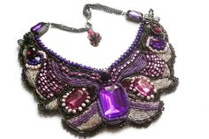 Bead Embroidery Necklace,Purple Necklace for Wedding, Bead Embroidered Jewelry…