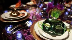 quinceanera-masquerade-theme-table setting decorations