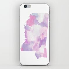 Watercolor State Map - Mississippi MS purples iPhone Skin by Rocky.rivers  | Society6