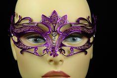 Purple Metal Venetian Crown Top Mask, $25 masquerade mask