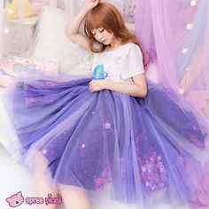 "<p>Made of good quality gauze, lining is made of high quality satin.</p> <p>It's fluffy outside, but very smooth and comfy inside (lining).</p> <p>Colors: blue/purple</p> <p>Inside printing is same as our galaxy seifuku <a href=""http://spreepicky.storenvy.com/collections/319962-tops/products/2..."
