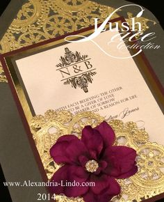 This fabulous invitation was inspired by a wedding dress. Professionally designed and impeccably printed with a matte gold finish font , the