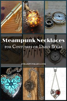Steampunk necklaces for custumes or daily wear Steampunk Cosplay, Steampunk Diy, Steampunk Clothing, Steampunk Fashion, Gothic Fashion, Steampunk Wedding, Victorian Steampunk, Victorian Era, Steam Punk Jewelry