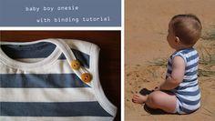 baby boy onesie with binding tutorial