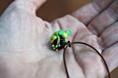 Jerry the Green Glass Frog Bead Pendant on Brown by blancheandguy, $32.00