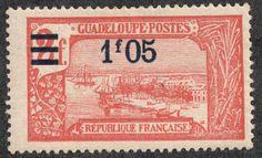 """Guadeloupe  1924-27 Scott 90 1.05fr on 2fr vermilion """"Pointe-à-Pitre, Grand-Terre"""""""