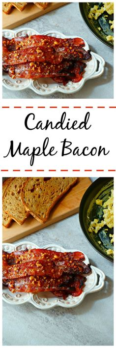 Candied Maple Bacon: Maple syup is combined with a variety of spices to create a complex, rich, sweet and spicy glaze perfect for bacon. Wrap Recipes, Bacon Recipes, Side Dish Recipes, Brunch Recipes, Breakfast Recipes, Candied Bacon, Maple Bacon, Bacon Bacon, Tailgate Food