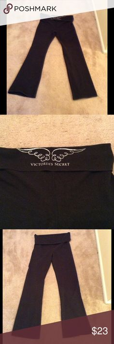 VS winged Yoga pants🌻🌻💫💫 VS black yoga pants with silver wings logo on fold over on back. Excellent condition , size M.🌻🌻💫💫💫💫💫 Victoria's Secret Other